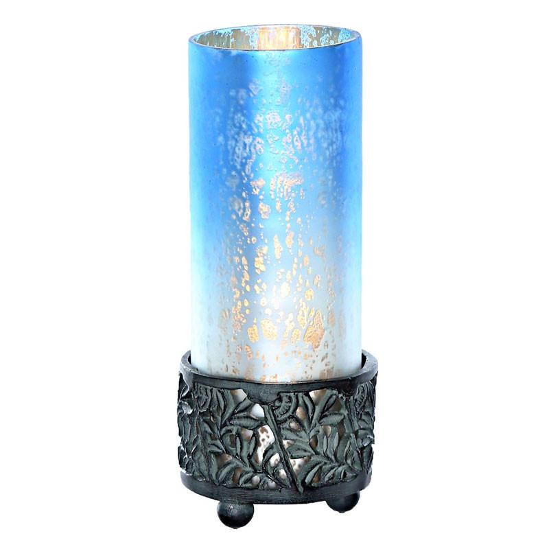 Medium Mercury Glass Round Memory Lamp   Blue/White