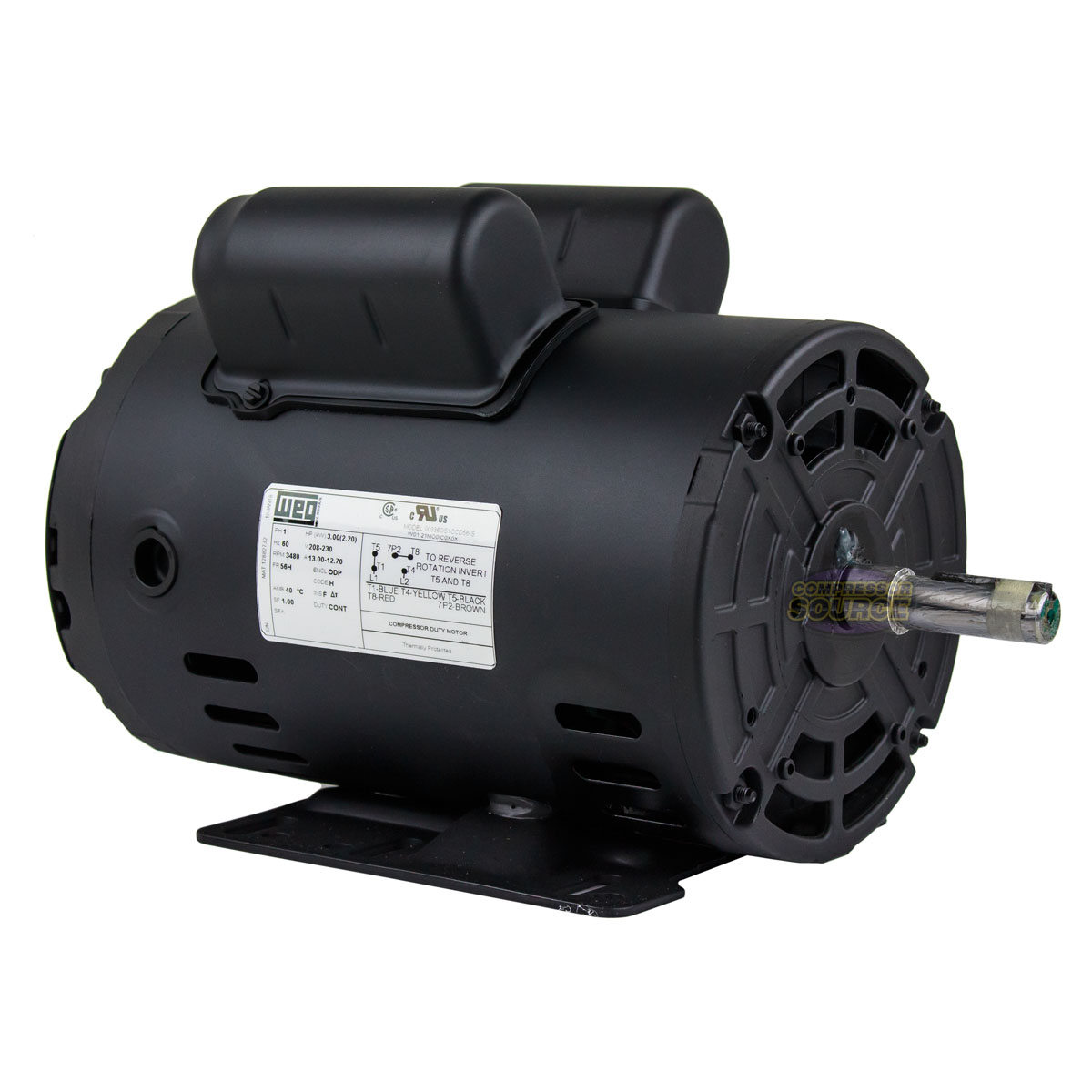 Details about 3 HP Horse Power Single Phase Weg Heavy Duty Electric  Compressor Motor 10698252