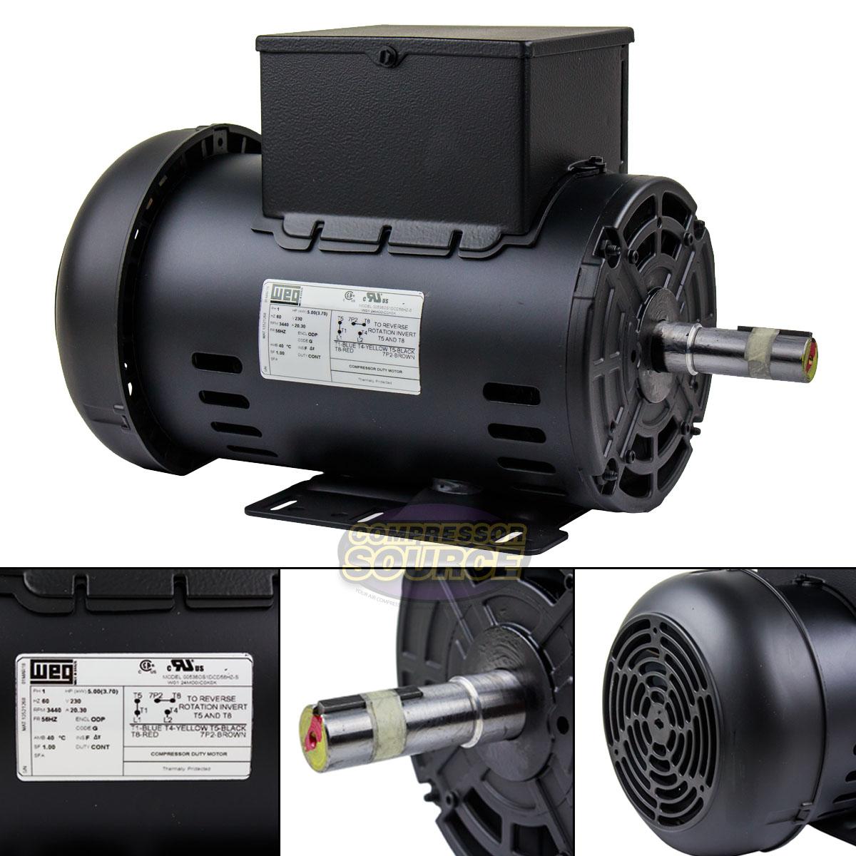 """208-230V BALDOR 5HP AIR COMPRESSOR ELECTRIC MOTOR 1-PHASE 7//8/"""" SHAFT 56HZ"""