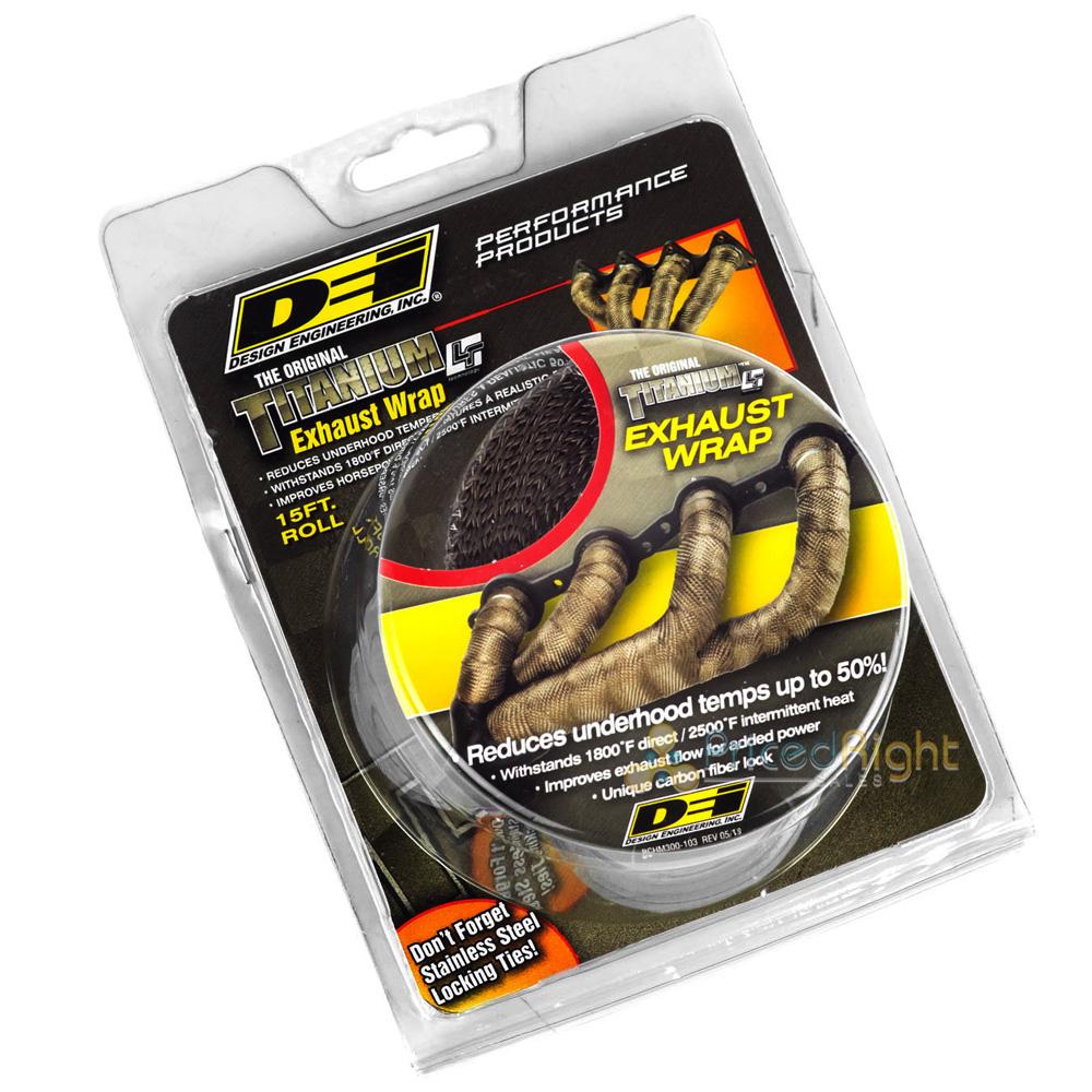 "DEI Titanium Heat Exhaust Wrap /& Stainless Steel Tie Kit 2/""x35FT Roll"