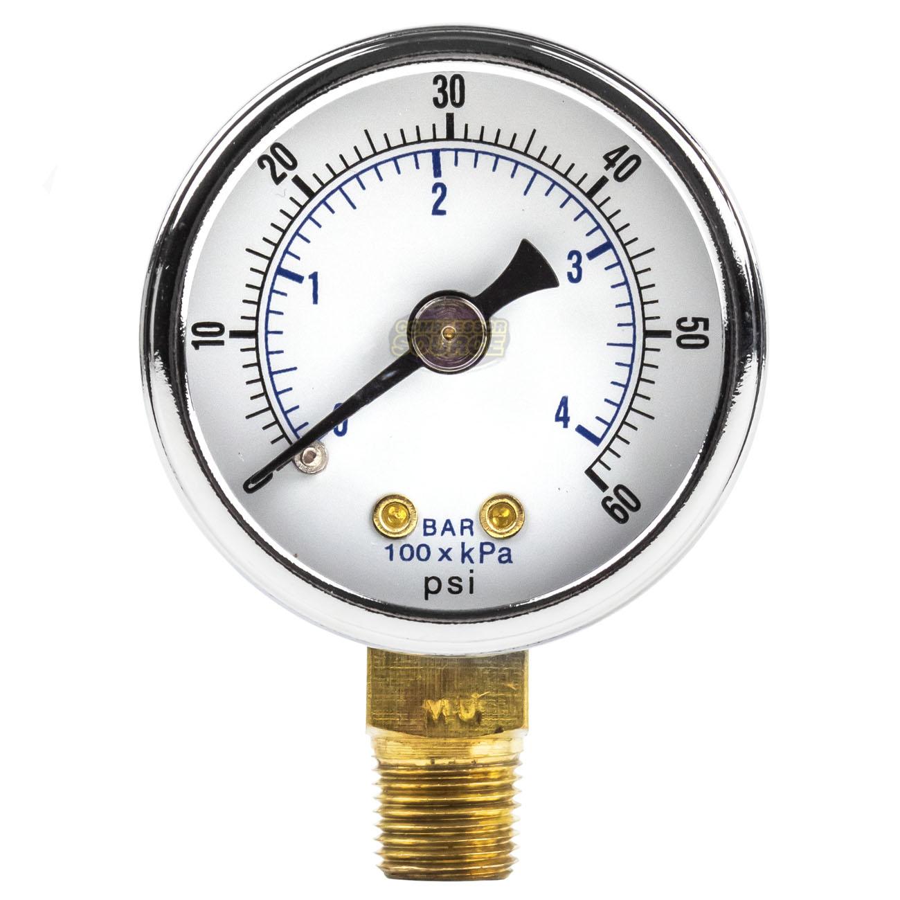 """2 Air Compressor Pressure Gauge 1//8/"""" NPT 0-30 PSI Side Mount 1.5/"""" Face WOG"""