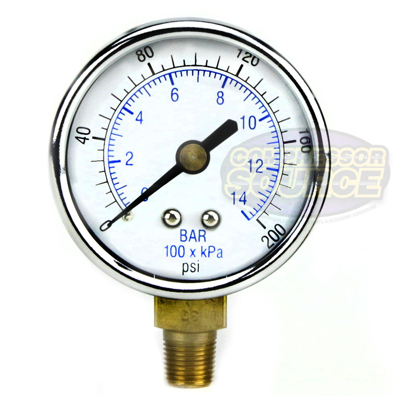 "NEW Pressure Gauge WOG air compressor hydraulic 1.5/""face 0-200 lower mnt 1//8/""npt"