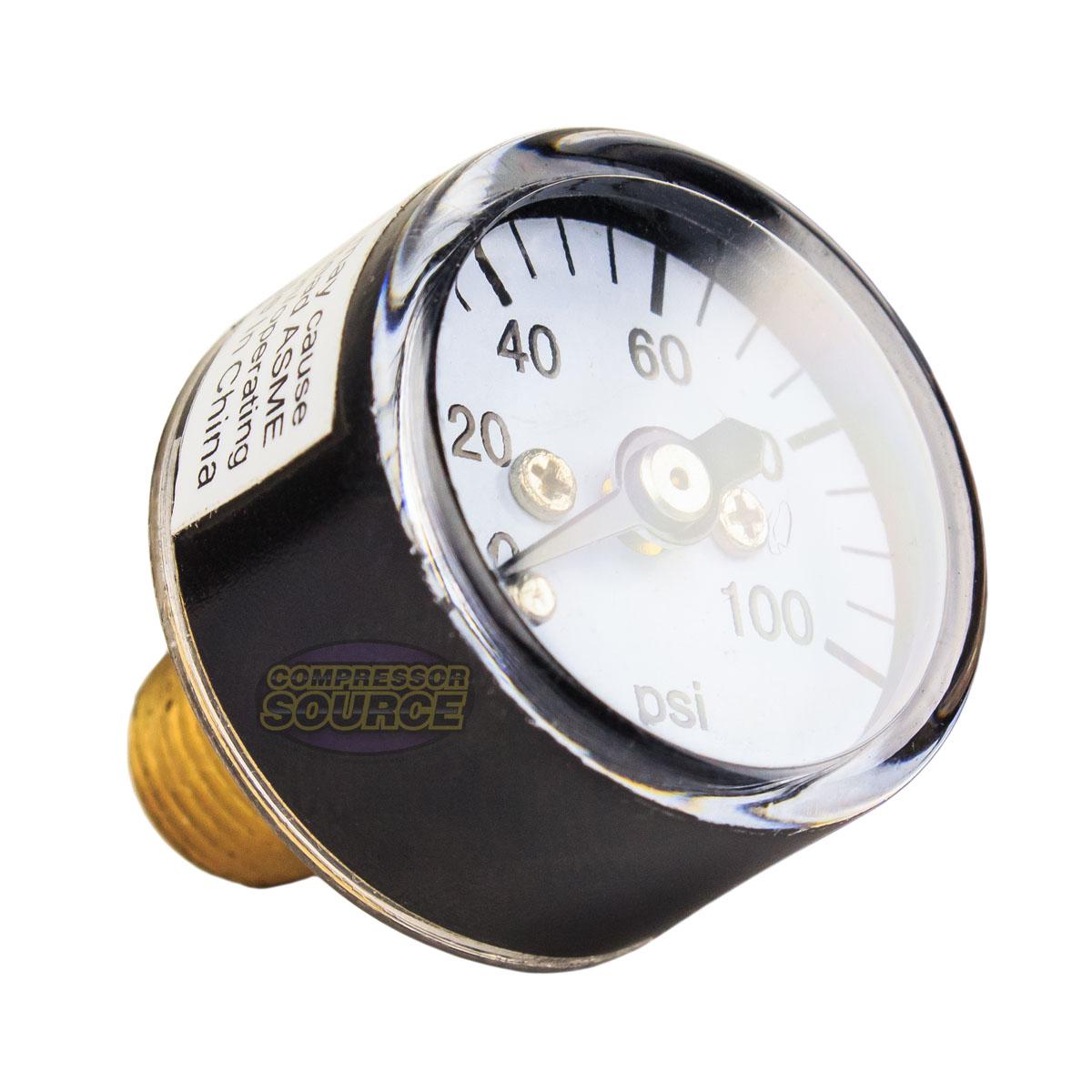 "1//8/"" MNPT Mini Micro Air Pressure Gauge 0-100 PSI 1/"" Face CBM Center Back Mount"
