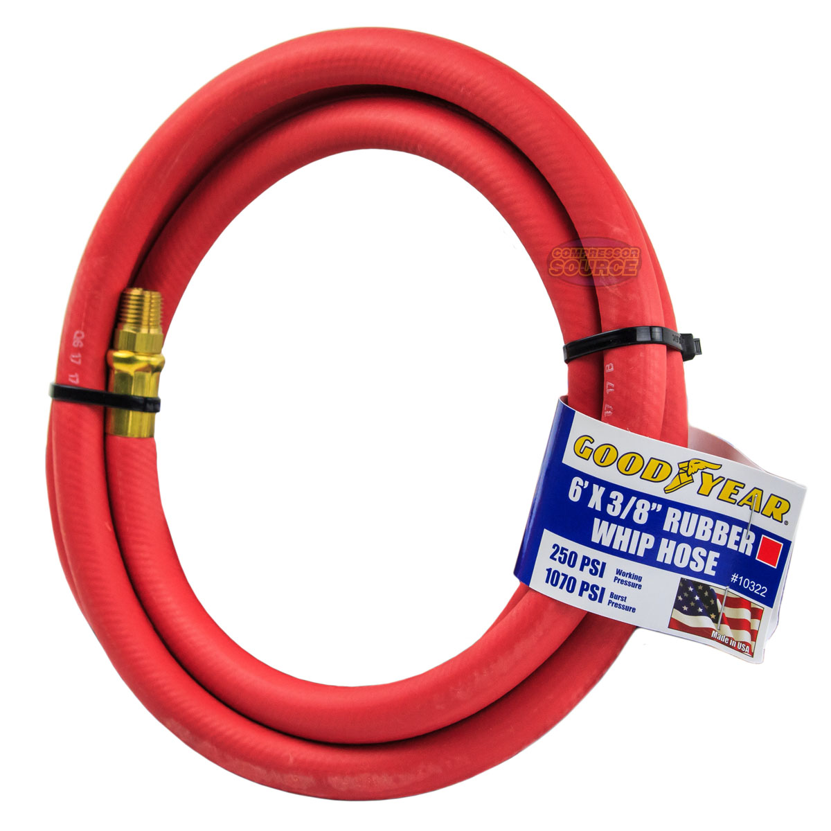 """Goodyear Rubber Hose Whip 3/' x 3//8/"""" 250 PSI Air Compressor Lead USA Made 10318"""