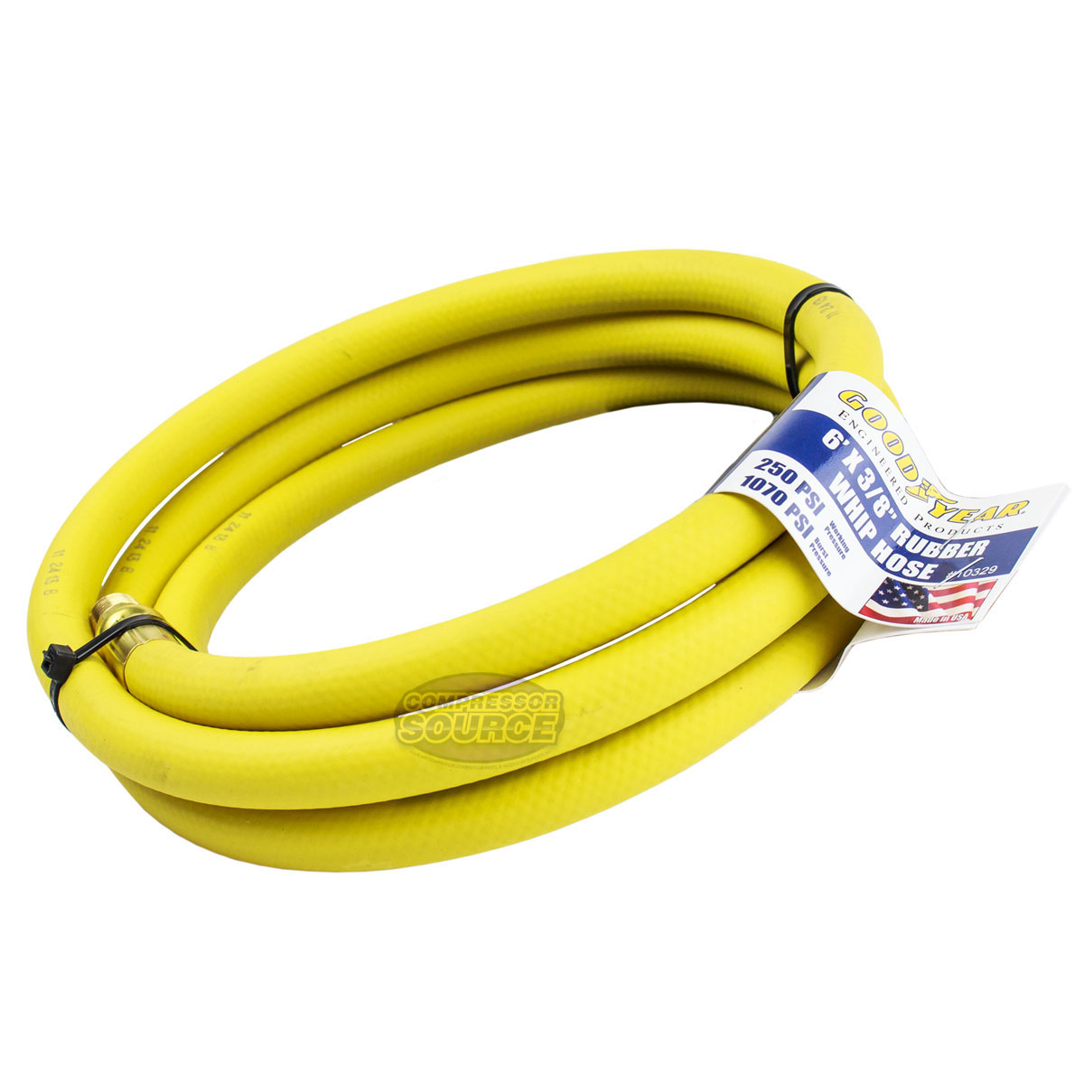 Goodyear USA 6 Foot 3//8 Inch 250 PSI Oil Resistant Rubber Air Hose Pigtail Whip