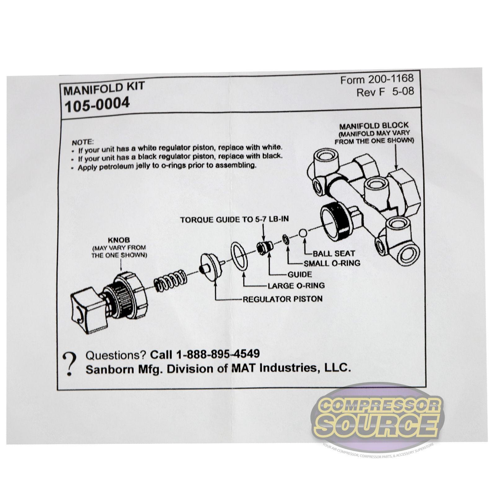 sanborn coleman powermate air compressor regulator manifold repair kit