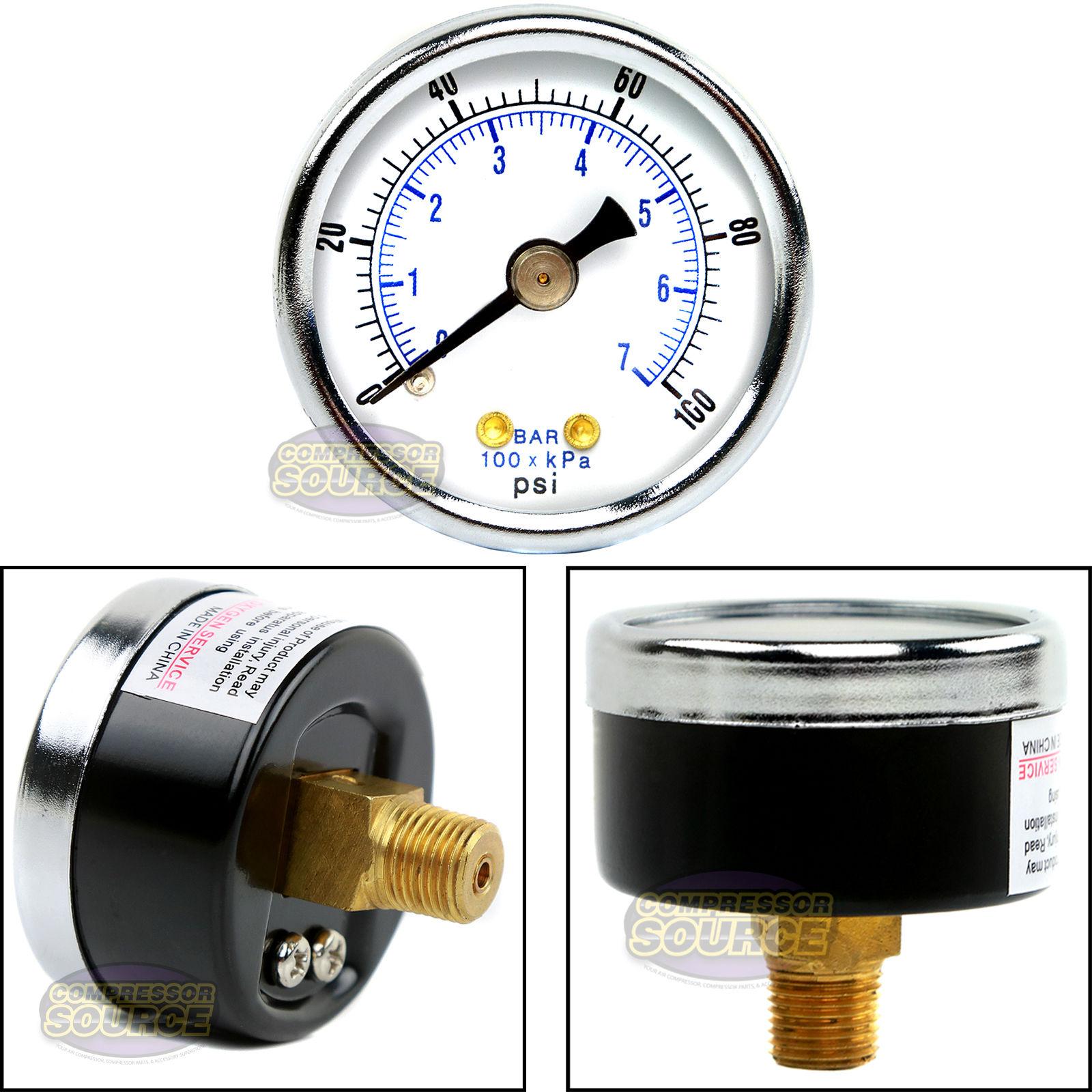 "1//8/"" 160 PSI  Compressed Air Pressure Gauge Regulator Compressor 1.5/"" Diameter"