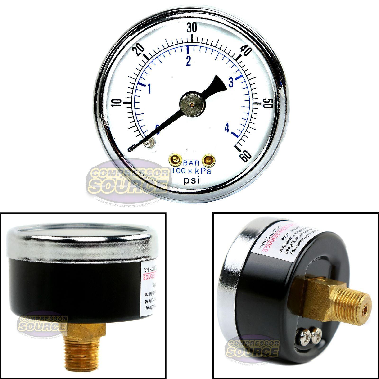 "1//8/"" NPT Air Compressor Hydraulic Pressure Gauge 0-60 PSI Back Mount 1.5/"""