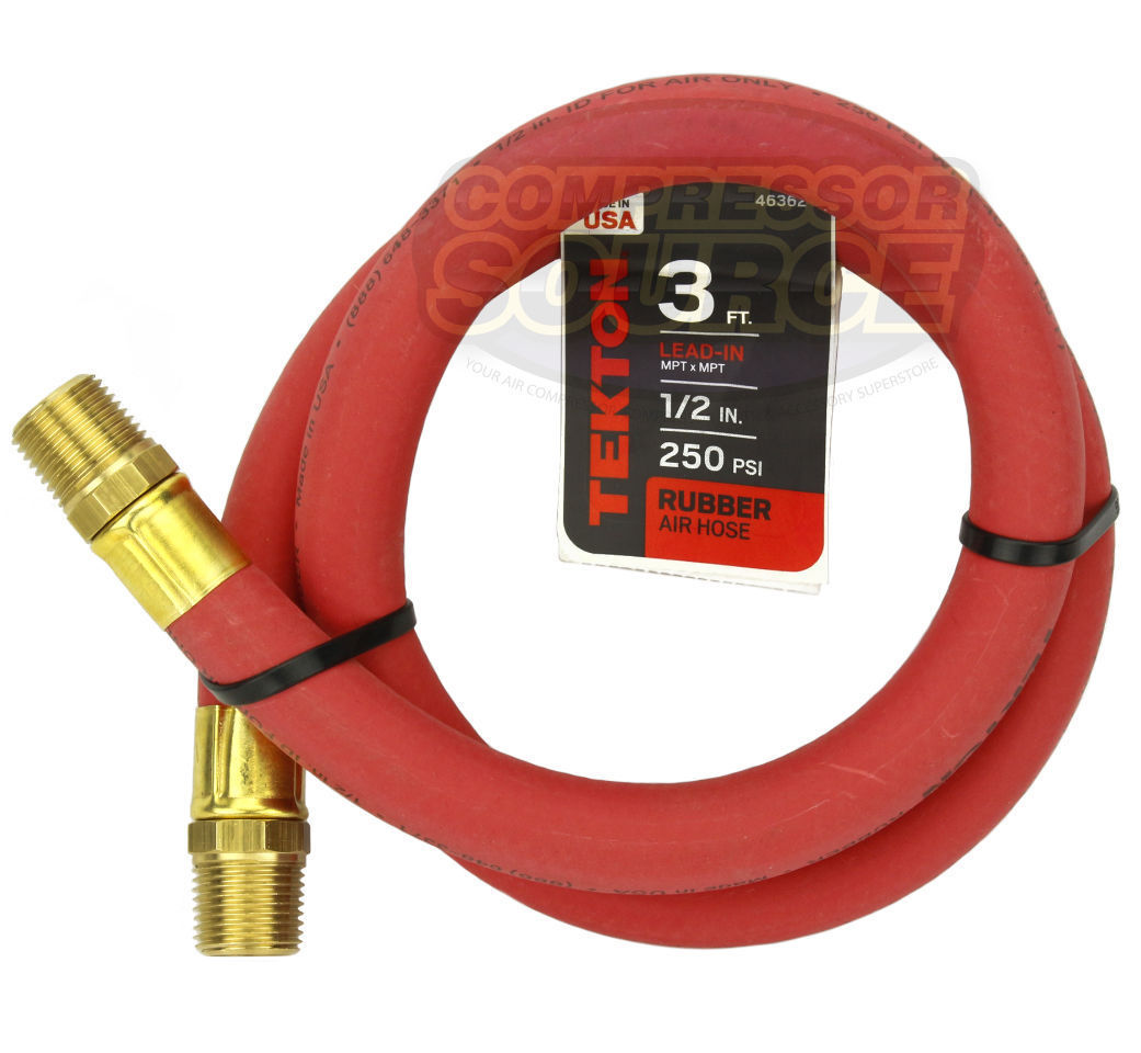 TEKTON 46362 1//2-Inch I.D by 3-Foot 250 PSI Rubber Lead-In Air Hose with 1//2...