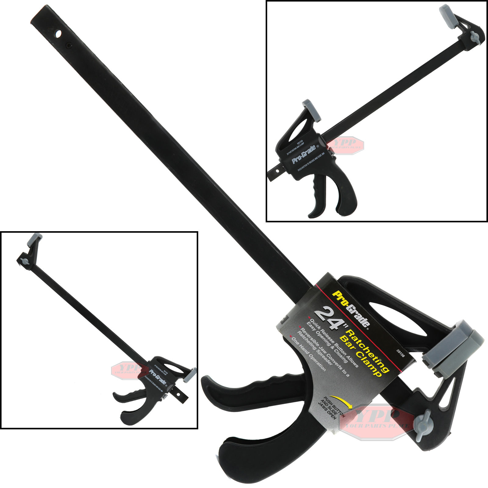 """details about 24"""" nylon ratchet bar clamp heavy duty spreader carpenter  woodworking wood tool"""
