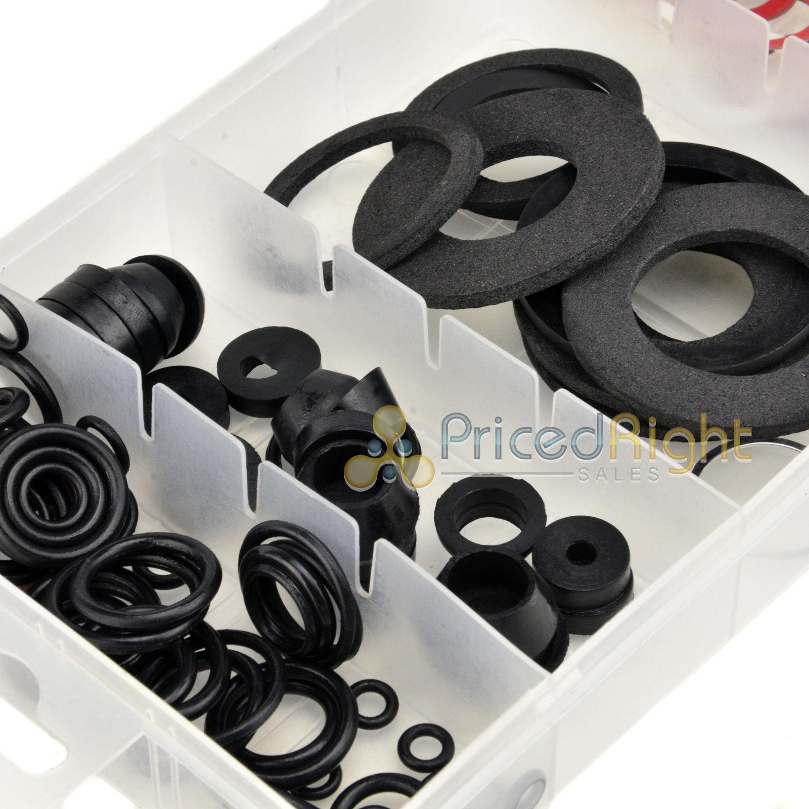 125 Pc Faucet Washer Assortment Set Rubber Fiber Seal Klingerite ...