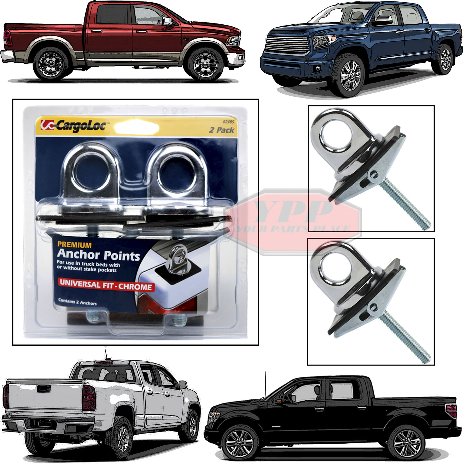 2 Pc Universal Fit Truck Bed Anchor Chrome Plated Tie Down Loop Hooks Pickup Bed