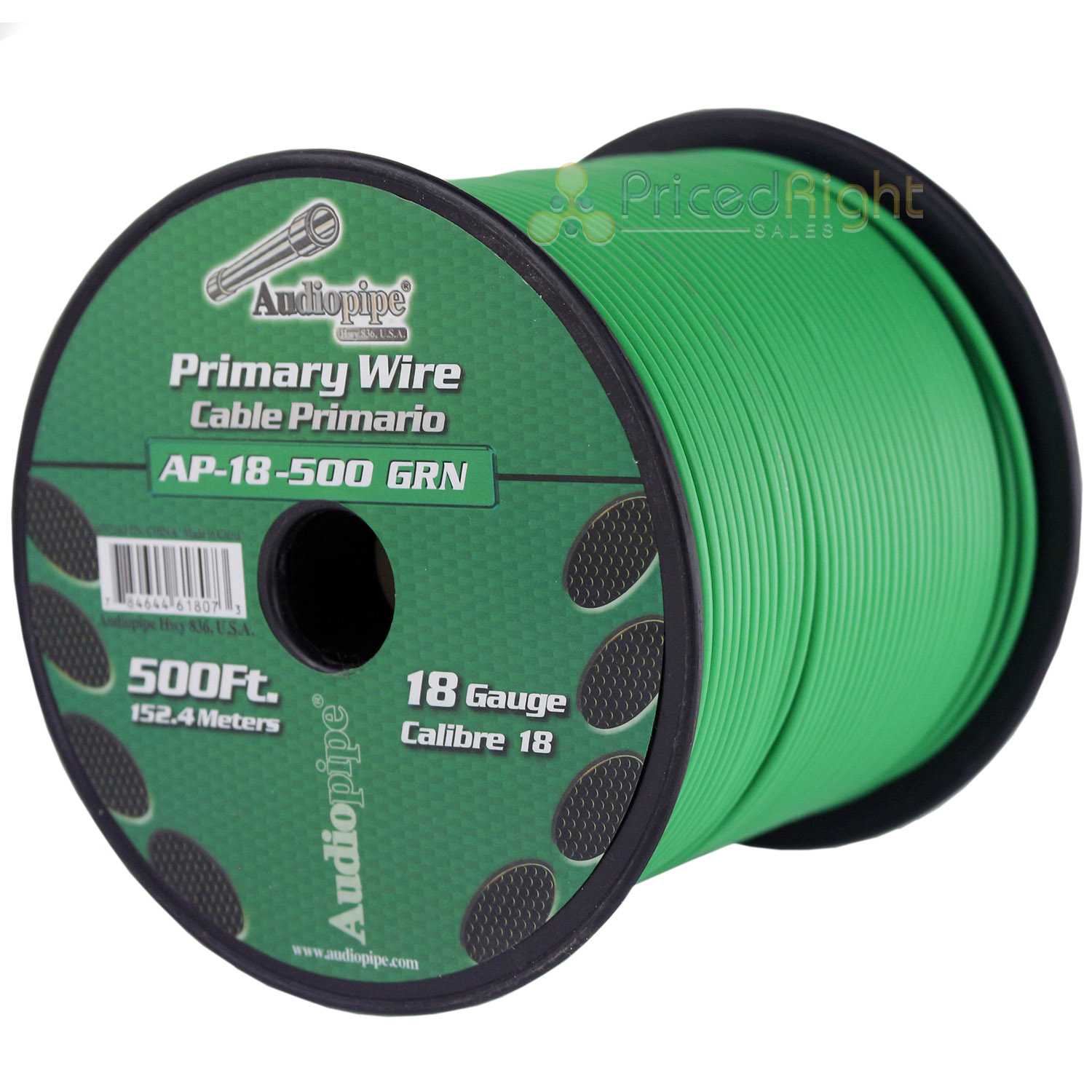 Green 18 Gauge AWG 500 Feet ft Stranded Primary Remote Wire Cable