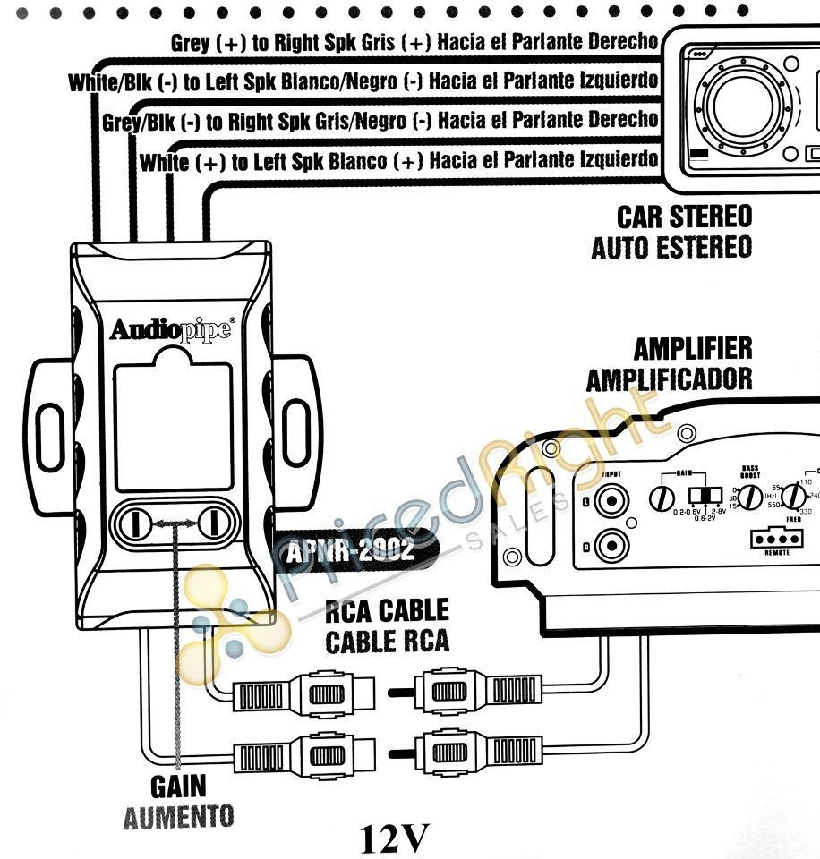 Audiopipe Apnr 2002 Hi Low Impedance Adapter Car Audio Line Output Wiring Diagram Converter