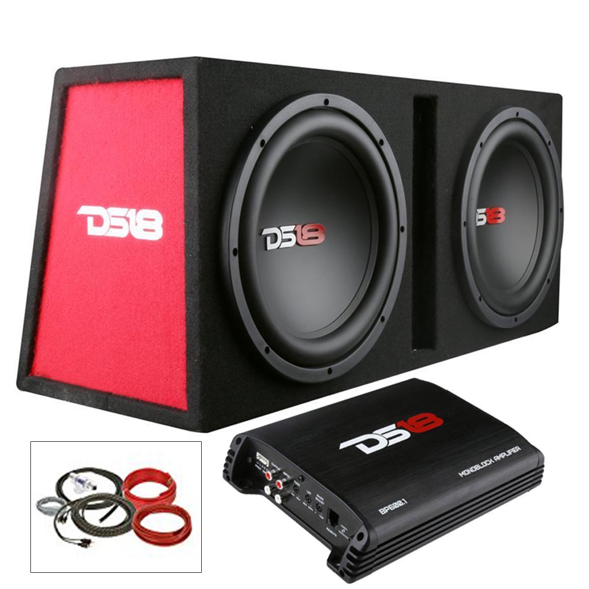 ds18 complete bass package dual subwoofers box amplifier install rh ebay com