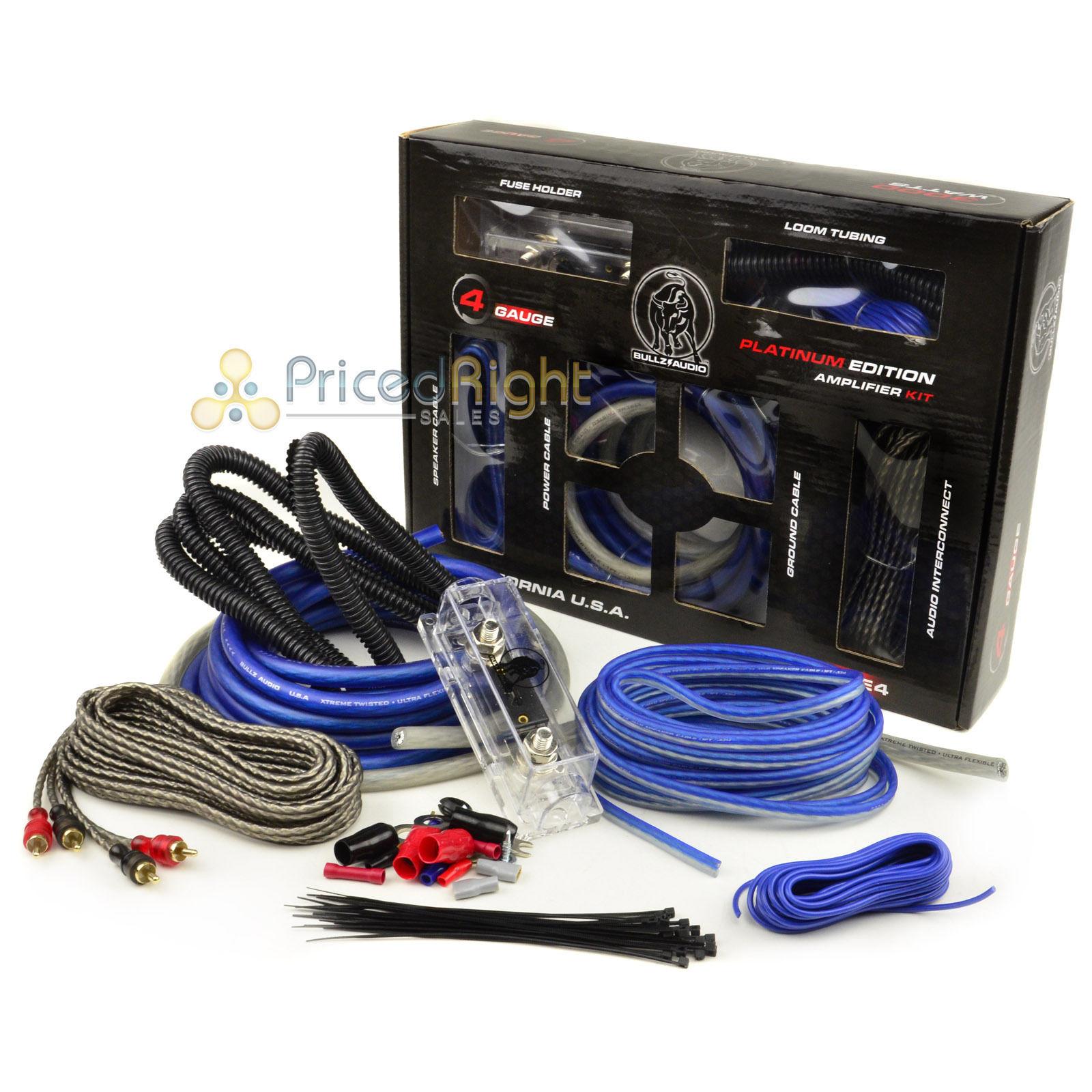 bullz car audio blue 4 gauge pro amp amplifier power wiring kit rh ebay com