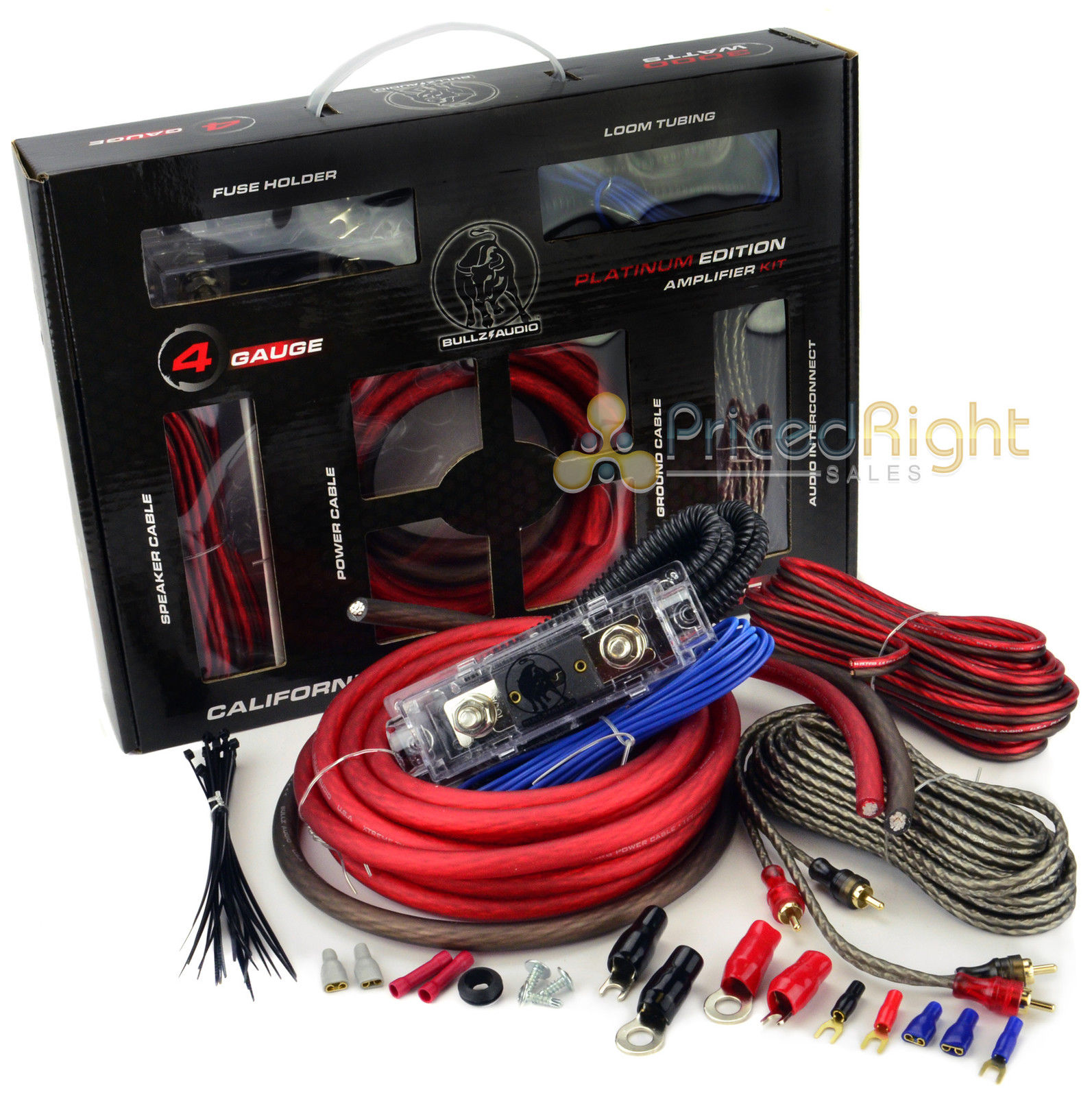 Remarkable Bullz Car Audio Red 4 Gauge Pro Amp Amplifier Power Wiring Kit Wiring Digital Resources Dimetprontobusorg