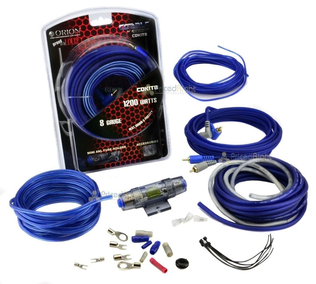 8 Gauge Amp Kit Amplifier Install Wiring Complete Ga Bullz Audio Car Installation Power Cables 1200w