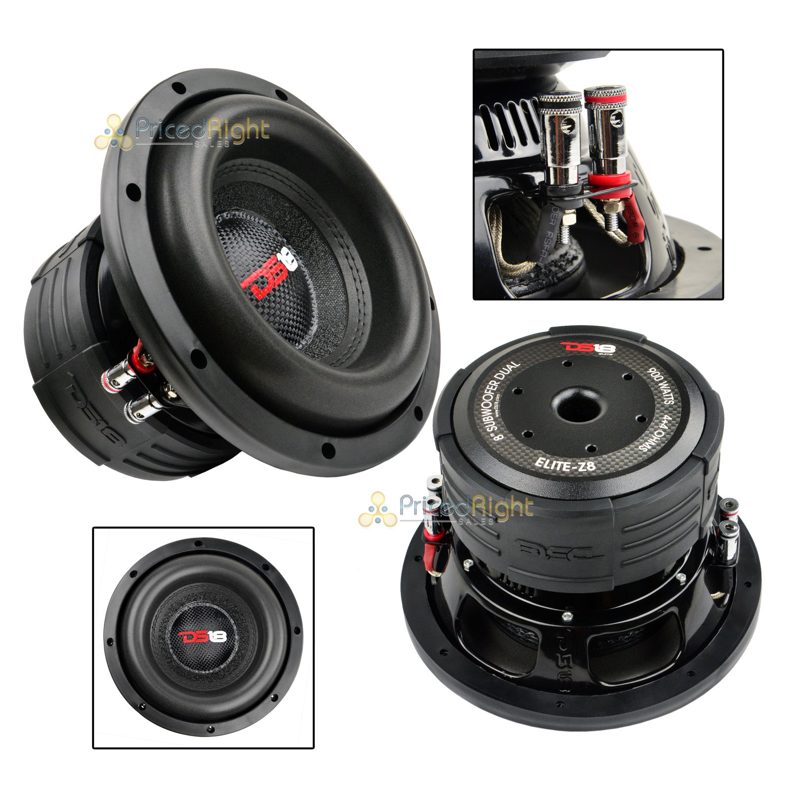 "DS18 Elite Z8 8"" Subwoofer Dual 4 Ohm 900 Watts Max Bass Sub Speaker Car 