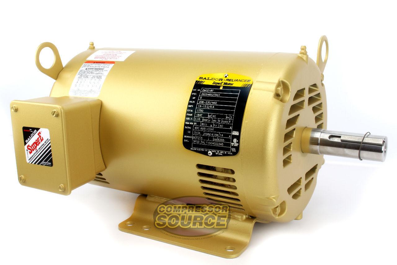 5 hp 3 ph three phase electric motor em3218t baldor 1750 for Baldor 5 hp compressor motor