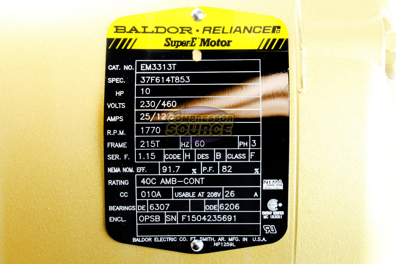 10 Hp 3 Ph Three Phase Electric Motor Em3313t Baldor 1770