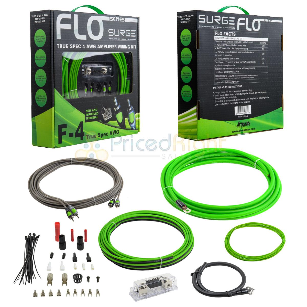 True 4 Gauge Amplifier Wiring Kit Green Amp Kit 4 AWG Flo Surge Atrend F-4