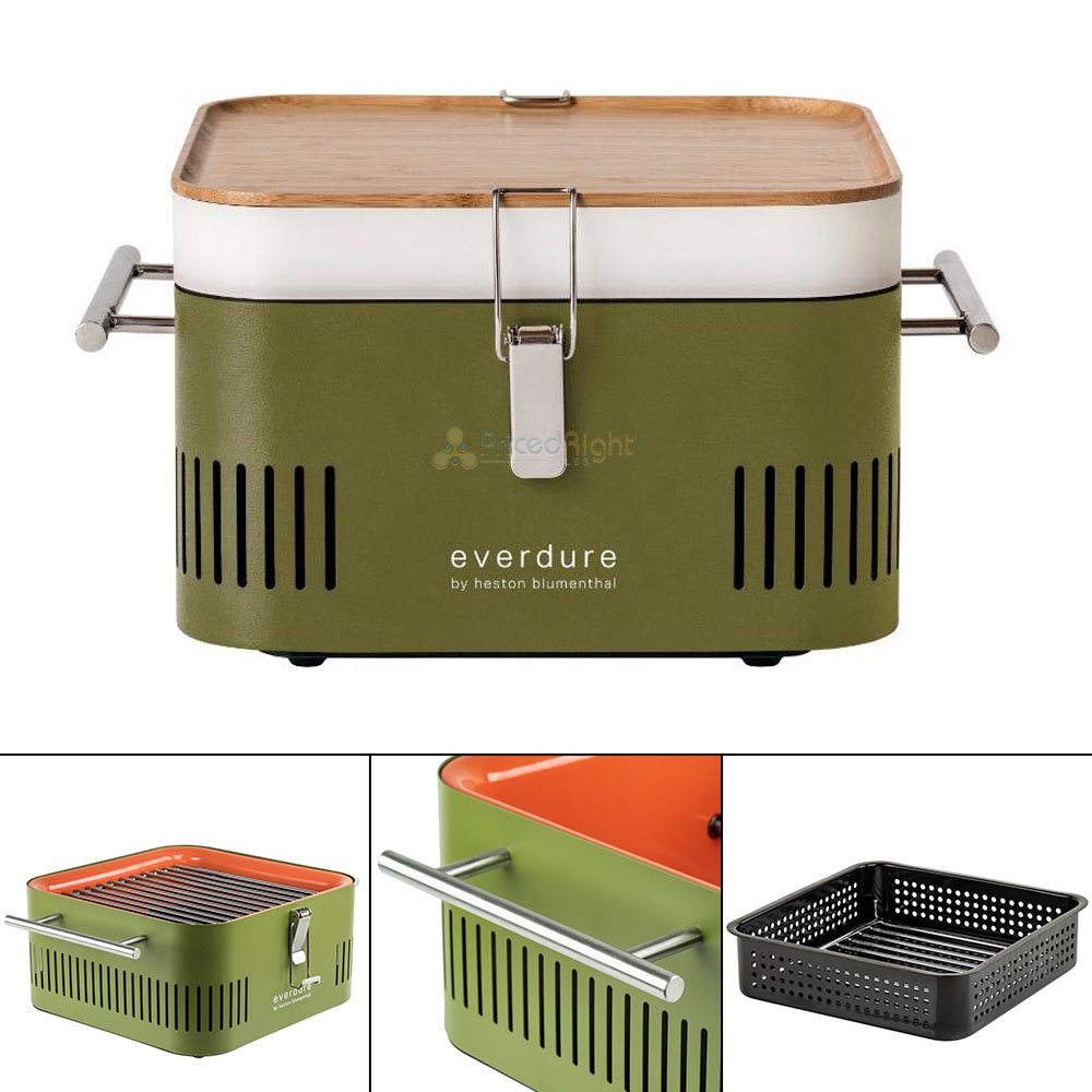 good out x look for official shop Details about Portable Charcoal Grill Barbecue BBQ Tailgate Everdure Cube  Khaki HBCUBEKUS