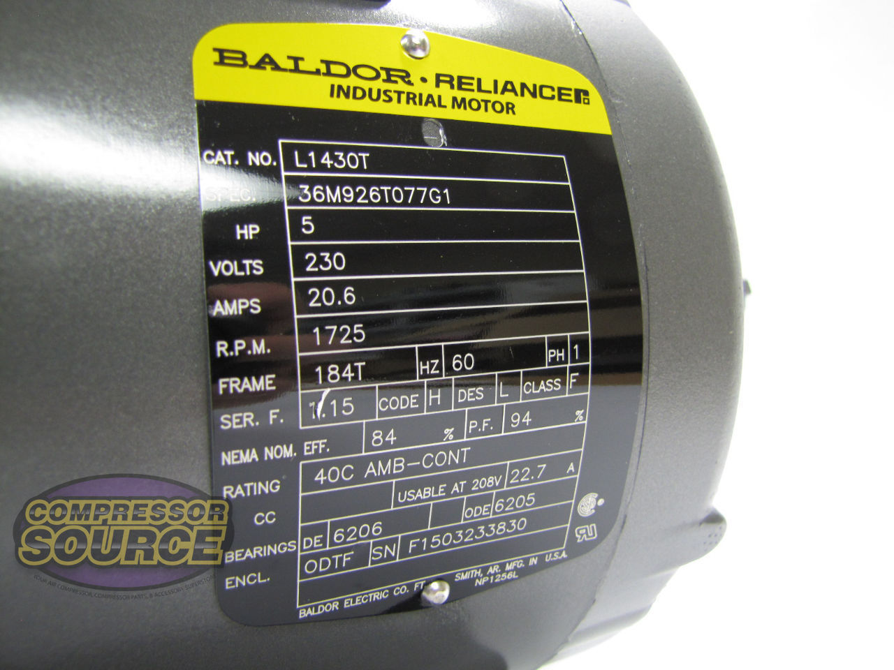 5 HP Single Phase Baldor Electric Compressor Motor 184T Frame ... Baldor Hp Single Phase Volt Motor Wiring Diagram on single-phase motor reversing diagram, baldor connection diagram, baldor 220 volt wiring diagram,