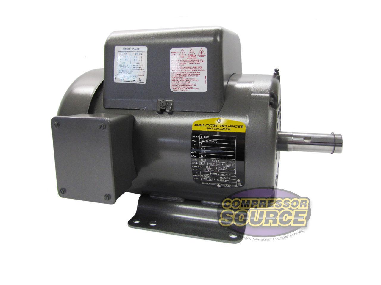 Single Phase Electricity : Hp single phase baldor electric compressor motor t