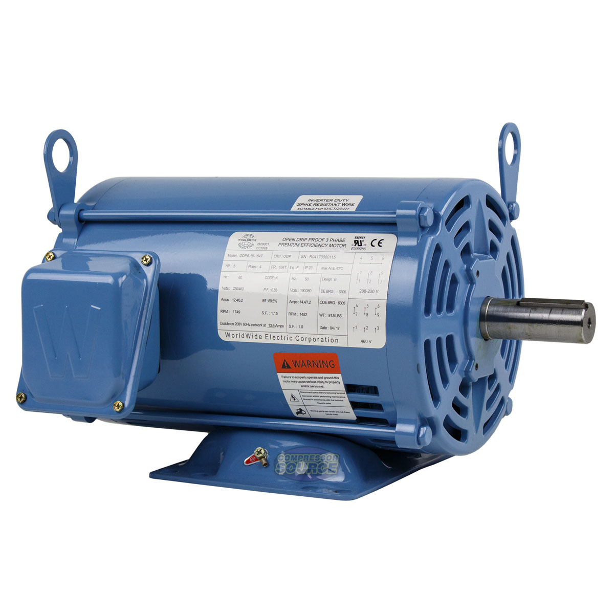 5 HP 3 Phase Electric Motor 1800 RPM 184T Frame ODP Open Drip Proof ...