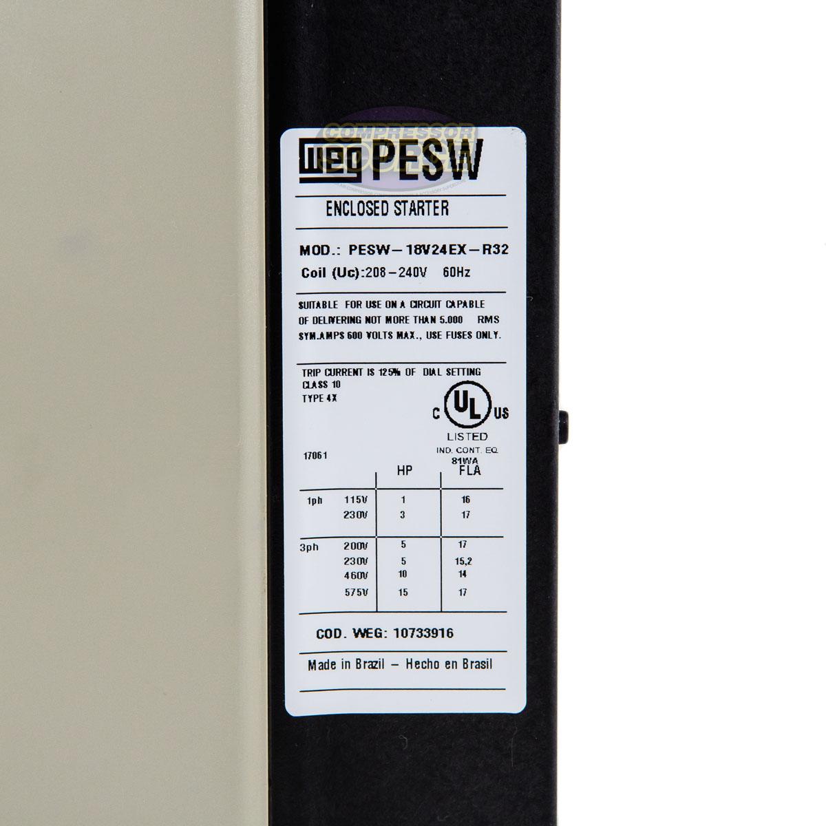 WEG 5 HP Three Phase Magnetic Starter Electric Motor Control NEMA4X 208-240 Volt