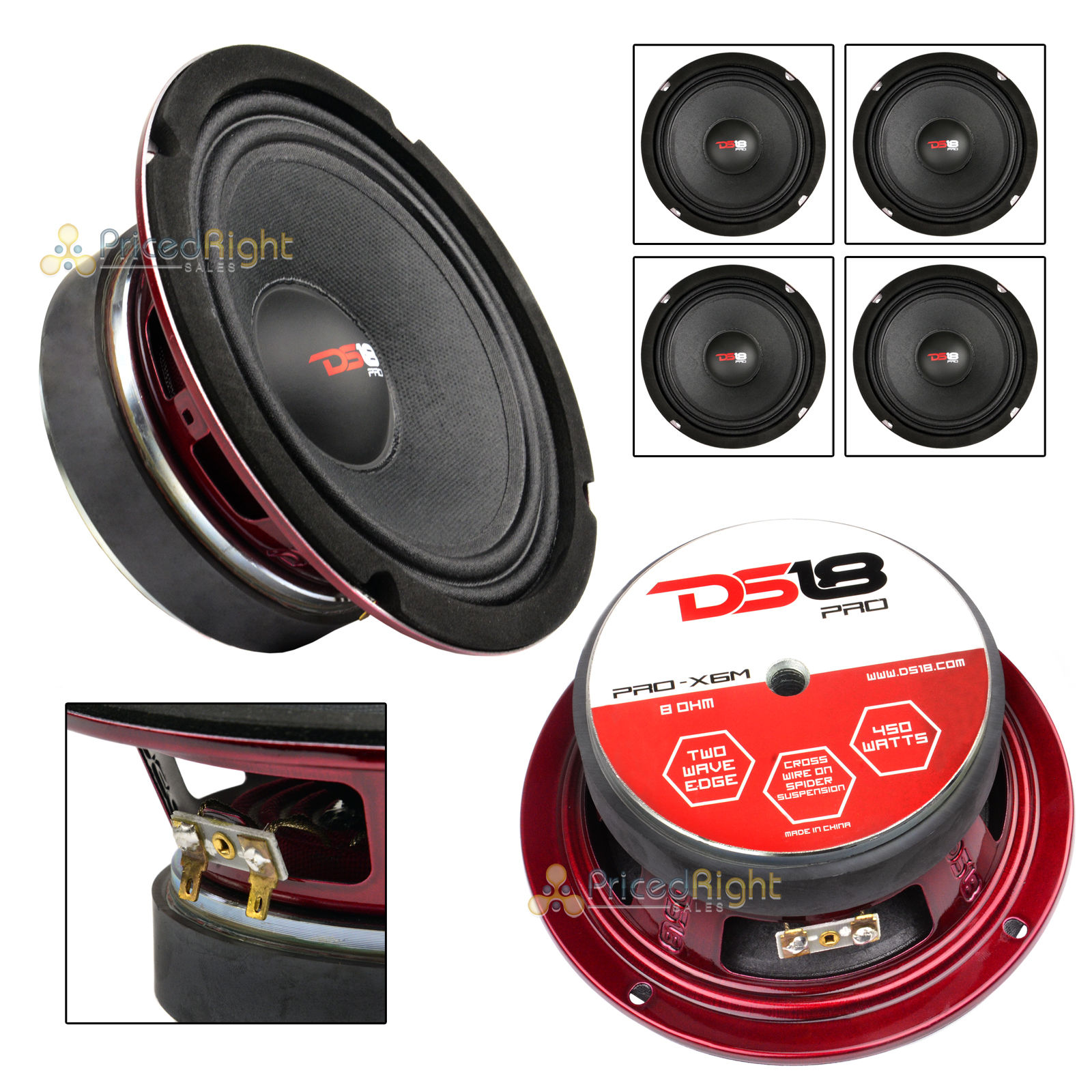 "4 DS18 PRO-X6MSE 6.5/"" Midrange Speakers Slim 450W Mid Bass Loudspeaker Car Audio"