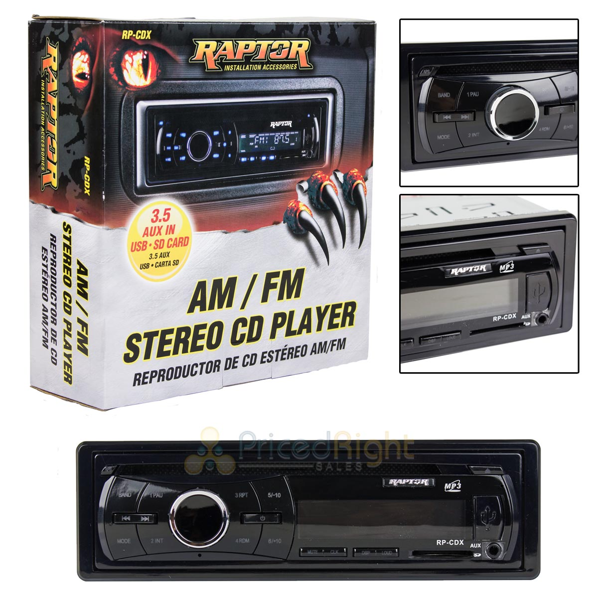 Details about Single DIN AM FM Stereo CD Player Raptor Installation  Accessories RP-CDX AUX USB