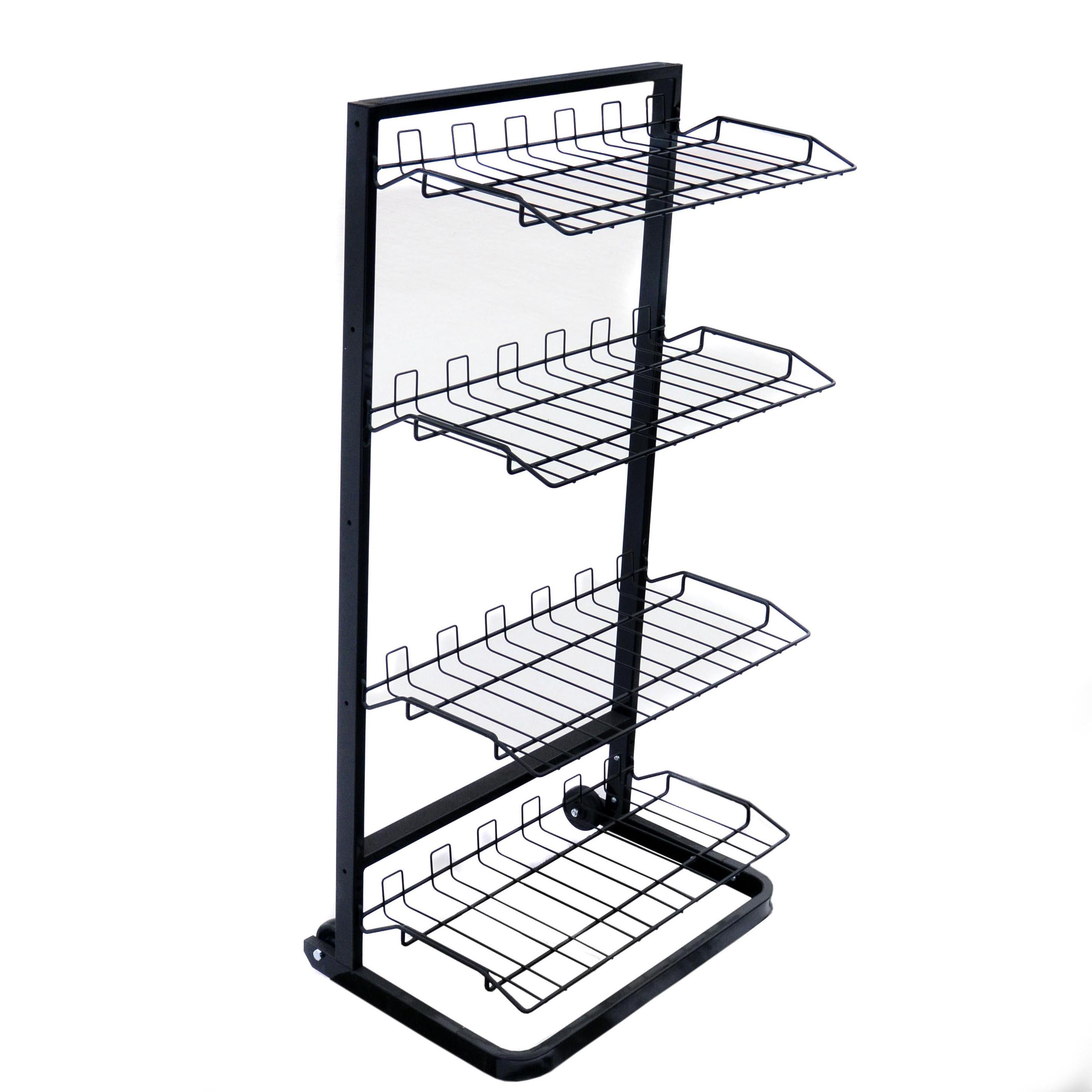 4 Tier Retail Store Display Shelf Wire Rack Display Rolling ...