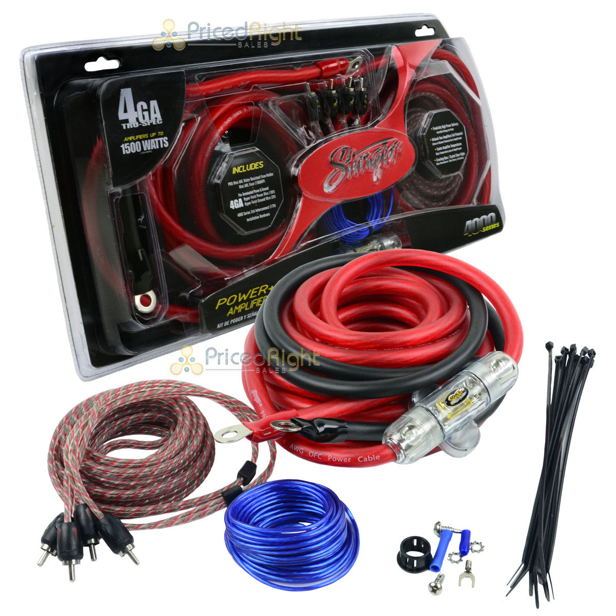 stinger true 4 gauge amp kit ofc 1500 watts power signal amplifier rh ebay com