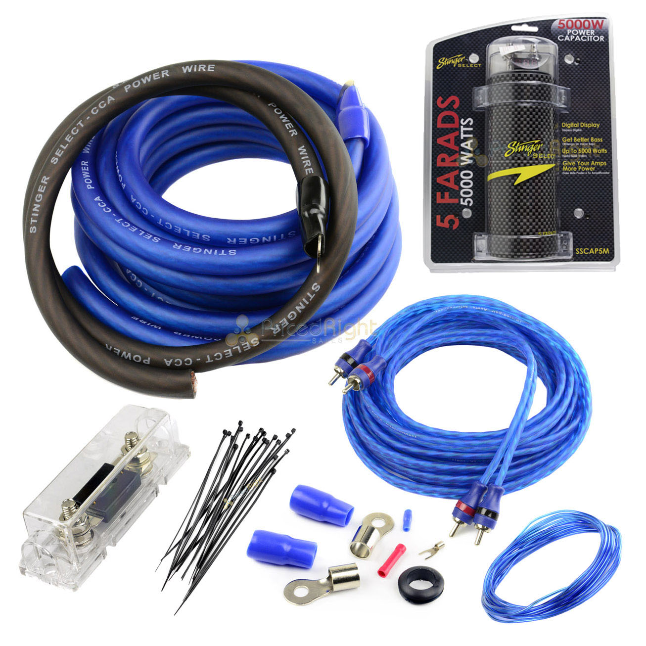 details about stinger true 0 gauge amp kit with 5 farad capacitor 1500  watts car audio kit set