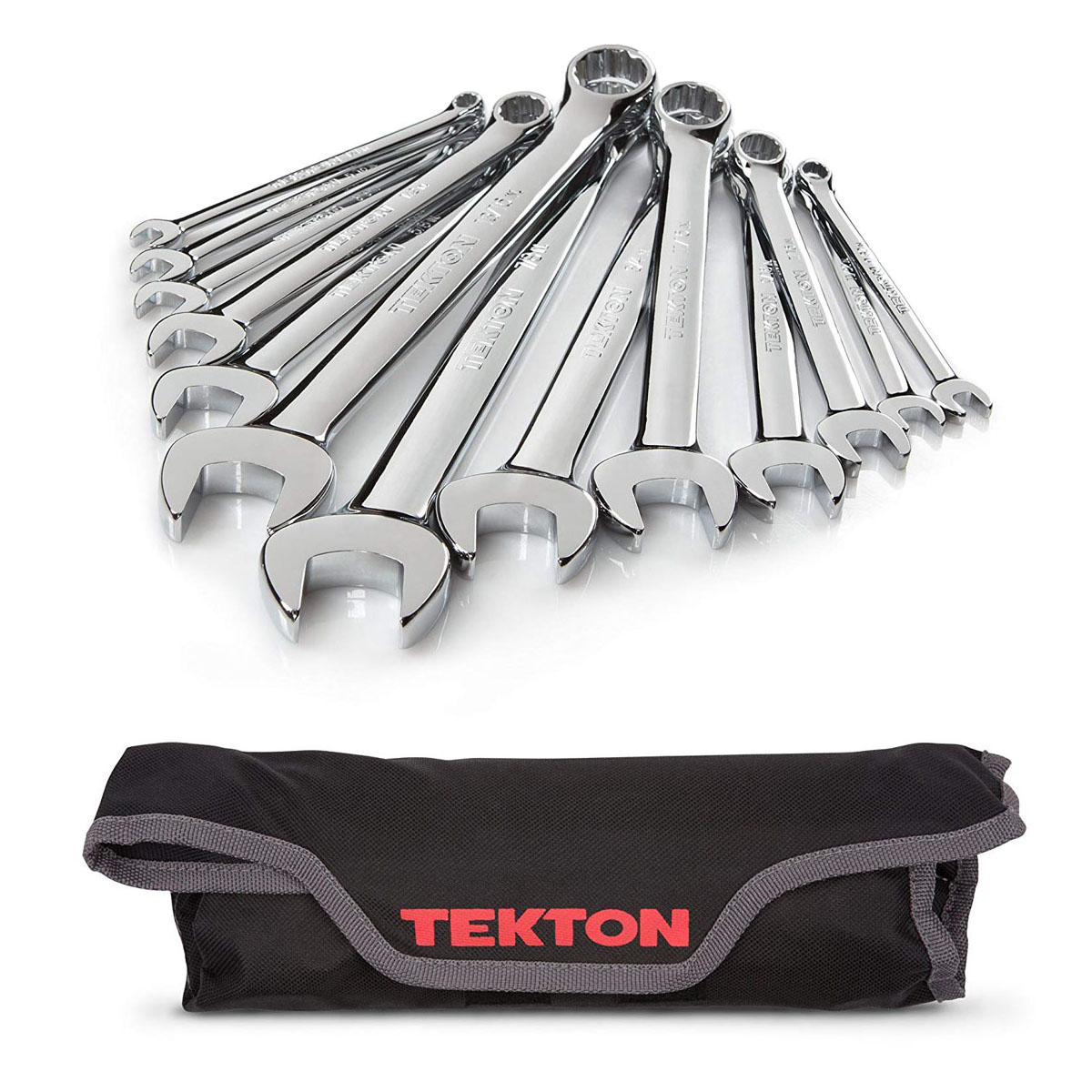 Inch, TEKTON WRN01086 Stubby Combination Wrench Set With Roll-Up Storage Pouch