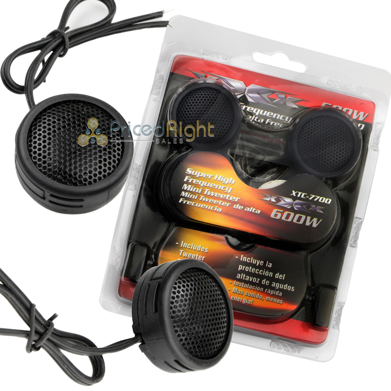 2 Pairs of 600W Super High Frequency Mini Car Dome Tweeters Built-In Crossover