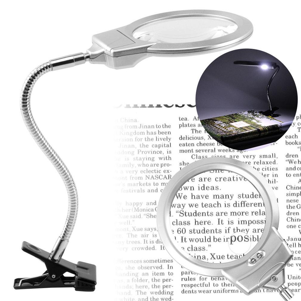 New Large Lens Lighted Lamp Desk Magnifier Magnifying
