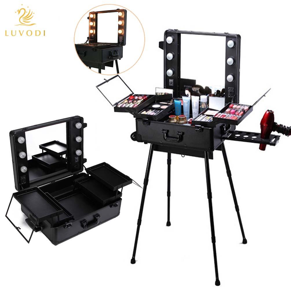Pro Makeup Artist Multifunction Lighted Cosmetics Rolling Vanity