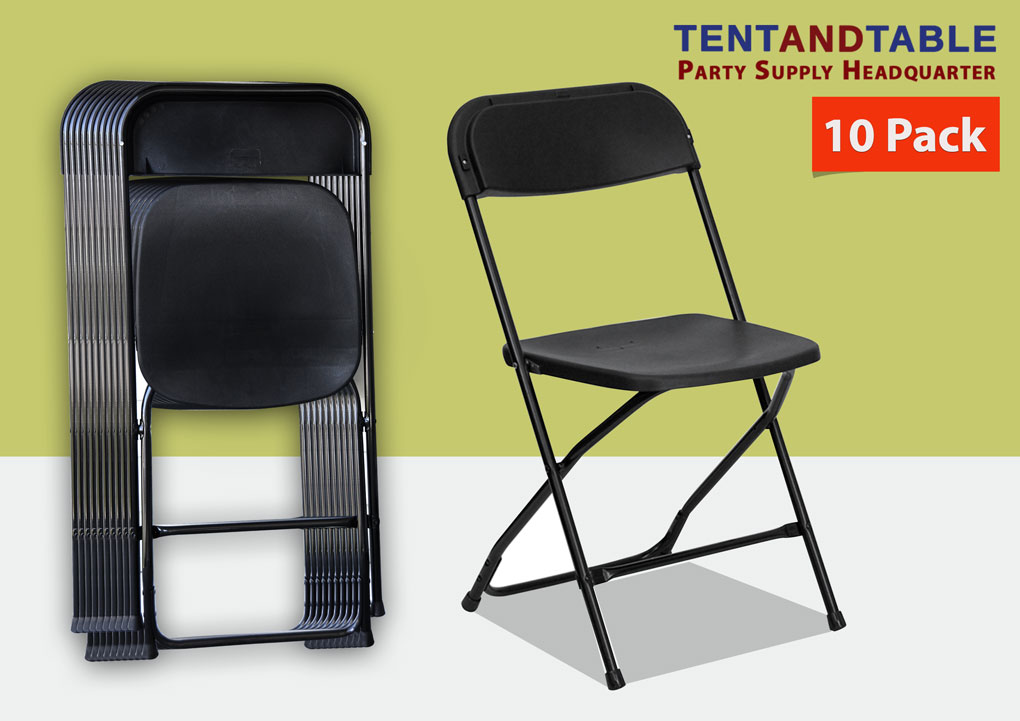 10 Black Wedding Chairs All Weather Commercial Grade Plastic 250lb Capacity