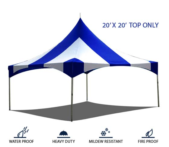 20x20 High Peak Frame Tent Top Only Commercial Blue & White Striped ...
