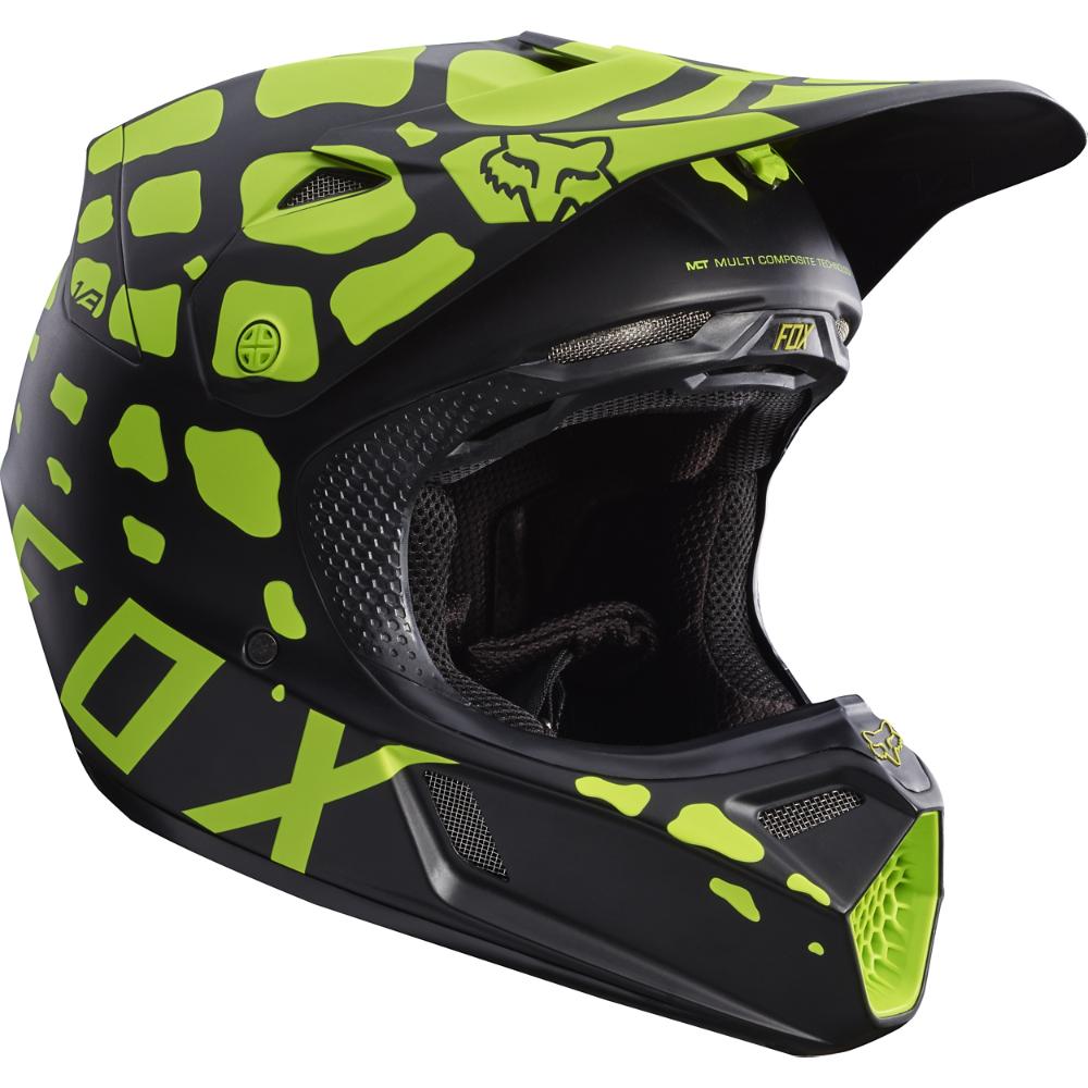 Fox V3 Helmet >> Details About Fox Racing V3 Grav Helmet Blk Ylw Xl