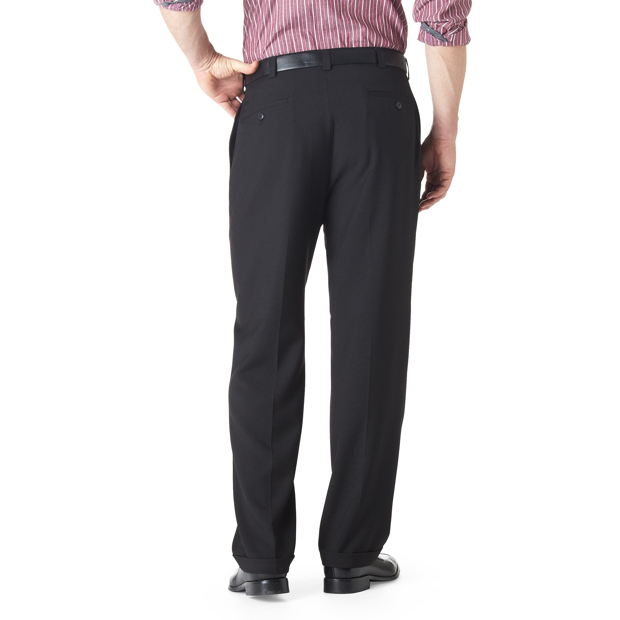Haggar Men/'s Big and Tall eCLo Stria Pleat-Front Expandable Waist Dress Pant