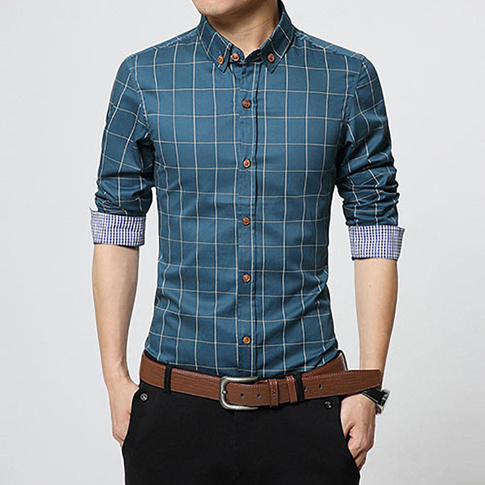 Luxury mens fashion dress shirts plaid long sleeve casual for Slim fit mens shirts casual