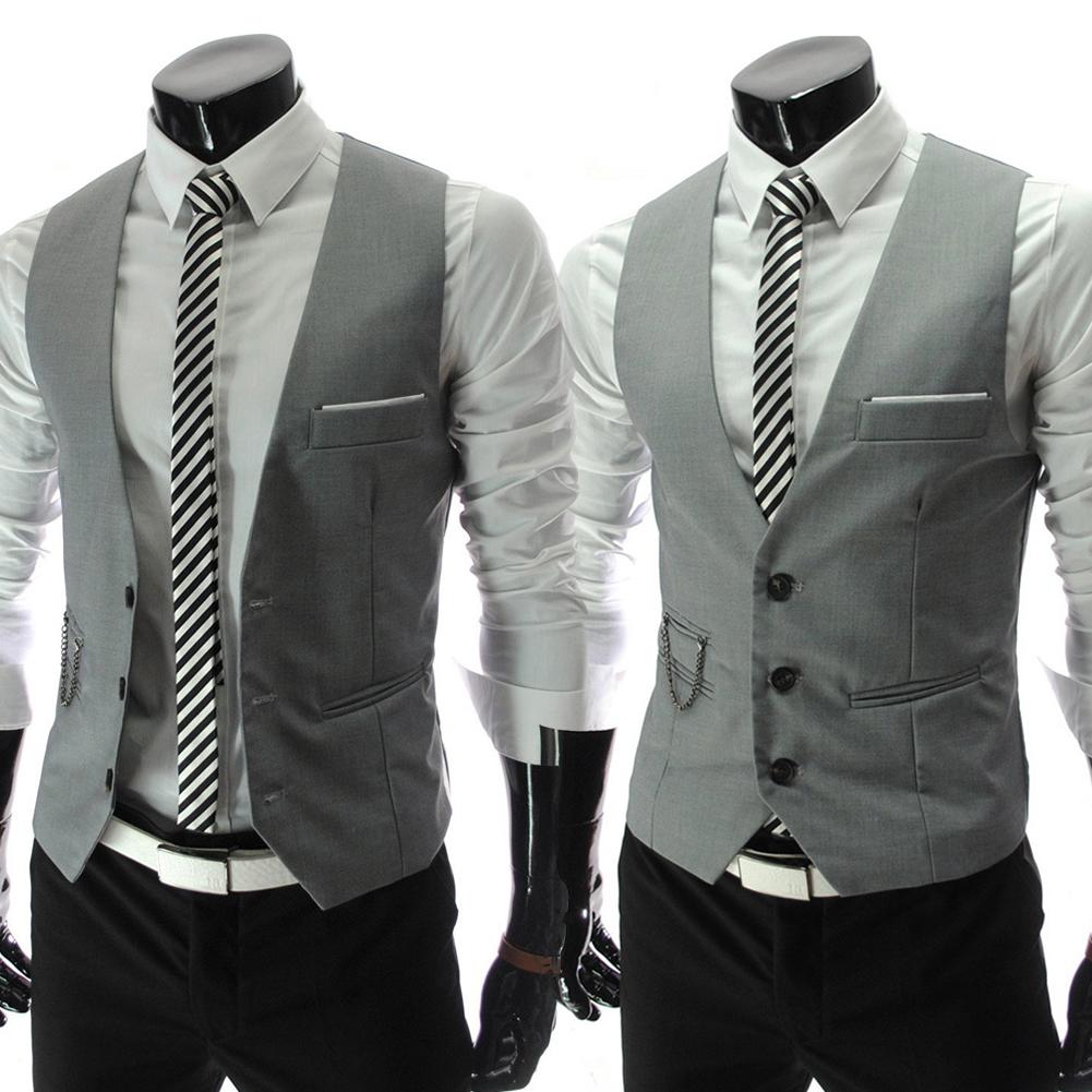 Vest Tuxedo Fashion Formal Waistcoat Slim Men 039