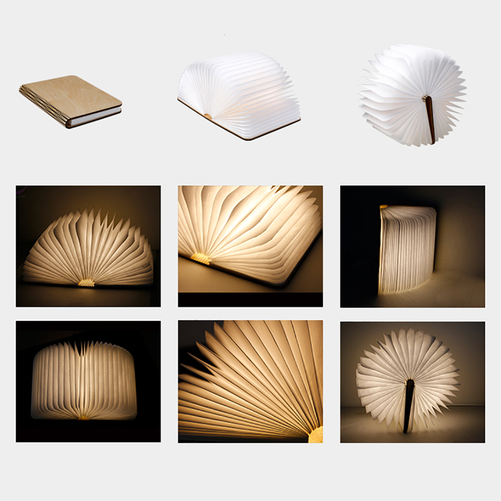 Led Folding Book Lamp Lumio Style Portable Wooden Usb Rechargeable