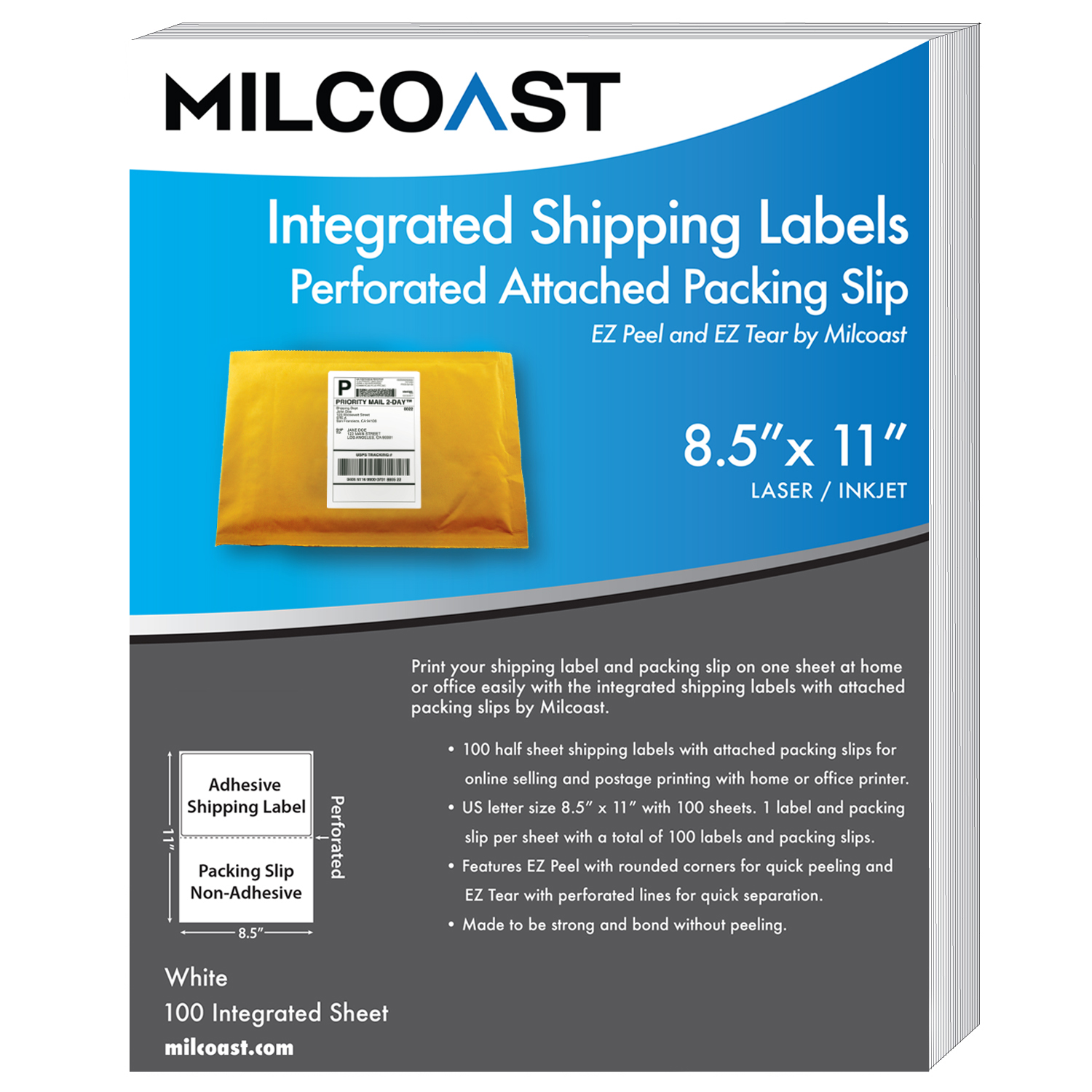 image is loading milcoast integrated shipping labels with perforated packing slip