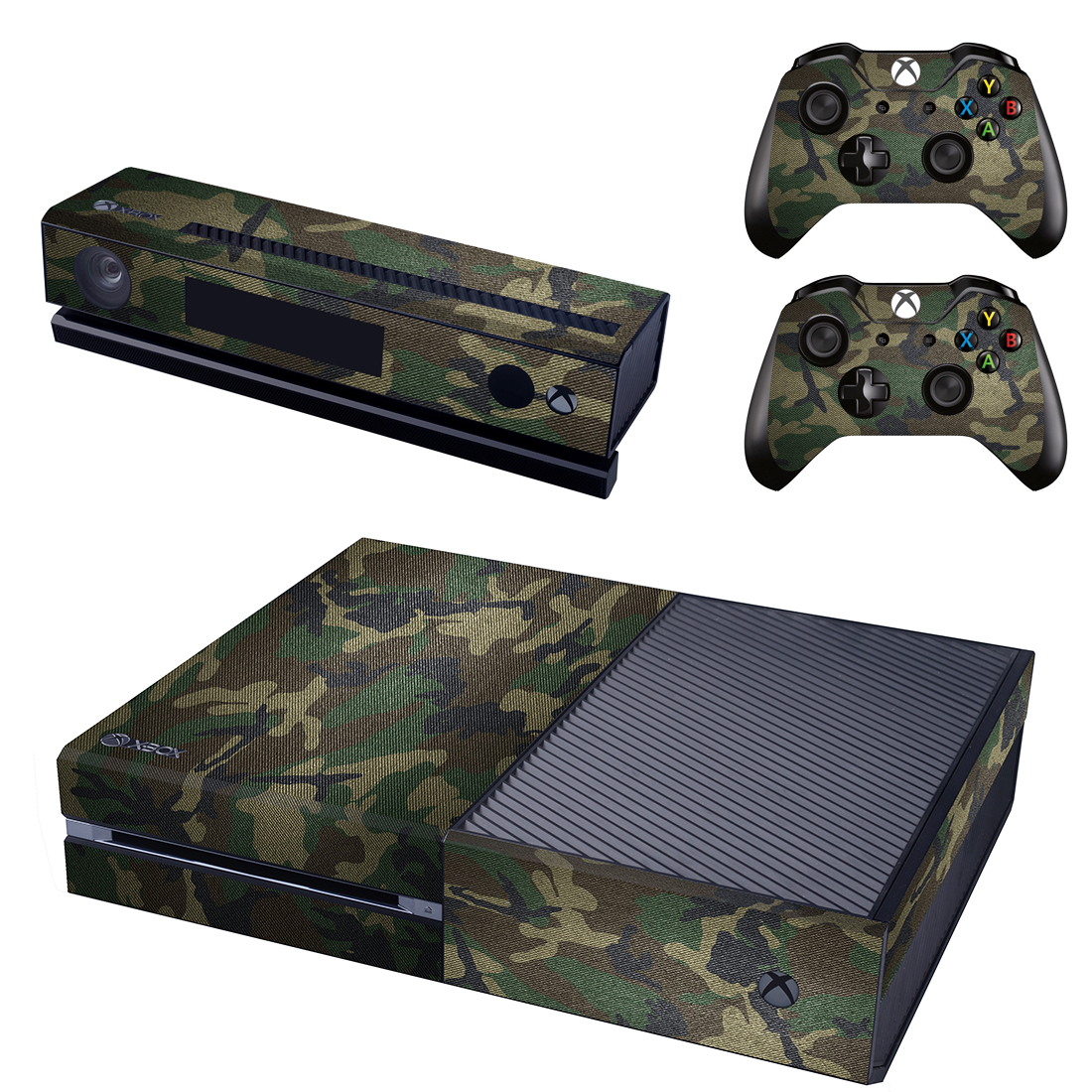 [reytid] Xbox One Console Skin / Sticker + 2 X Controller Decals & Kinect Wrap - Army Camo
