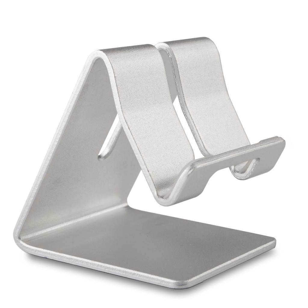 [reytid] Premium Solid Aluminum Phone Holder For All Smartphones Stand Desktop Mount - Silver